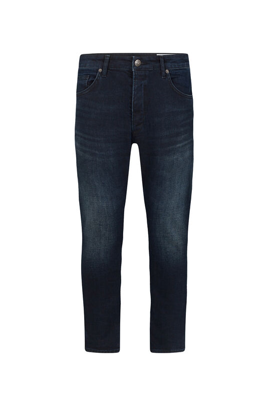 Heren slim fit cropped comfort stretch jeans Donkerblauw