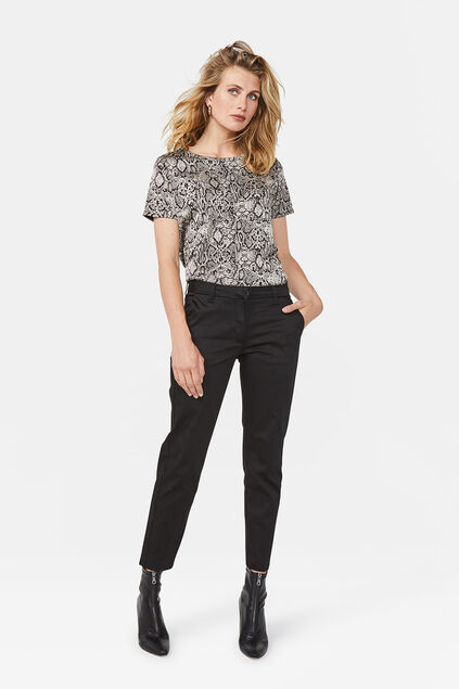 b4e60c57d9cf6f DAMES SLIM FIT HIGH STRETCH CROPPED CHINO Zwart