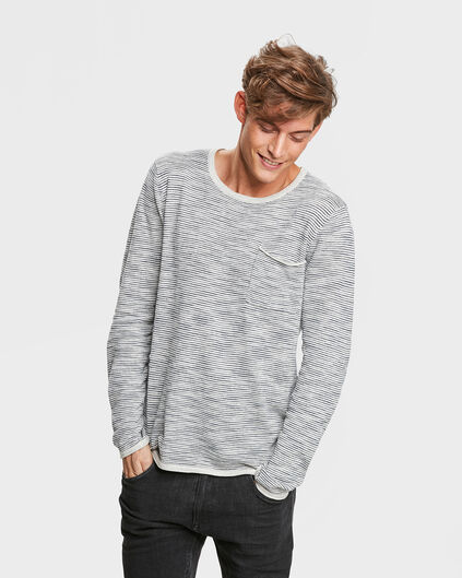 PULL STRIPE HOMME Gris clair