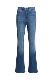 Dames high rise flared jeans met stretch_Dames high rise flared jeans met stretch, Blauw