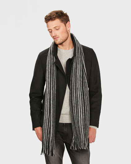 HEREN STRIPED FRAYED SJAAL Zwart