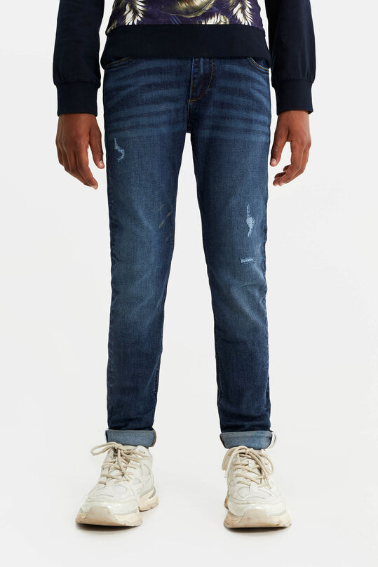 Jongens slim fit met tape en distressed details Donkerblauw