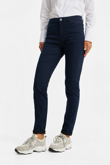 Dames mid rise skinny jeans met stretch Marineblauw