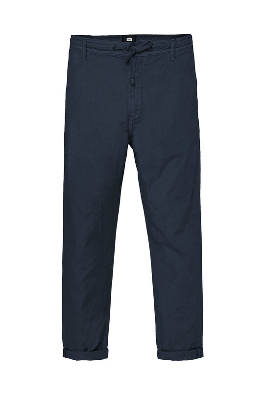 Heren slim fit cropped chino van linnenmix Donkerblauw