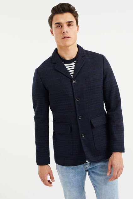 Heren slim fit geruite blazer, Jurriaan Donkerblauw