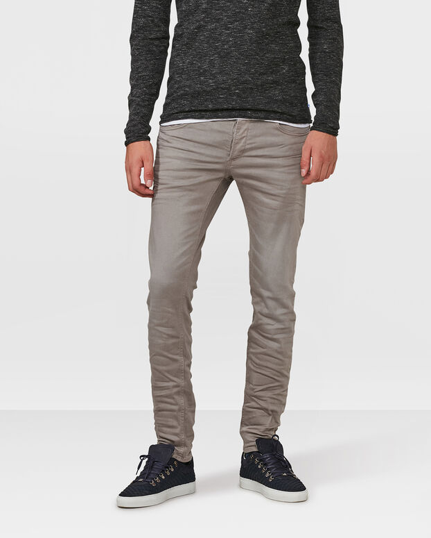 PANTALON SUPER STRETCH SKINNY TAPERED HOMME Gris clair