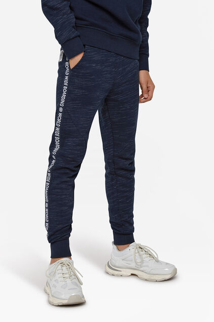 Pantalon sweat world print garçon Bleu marine