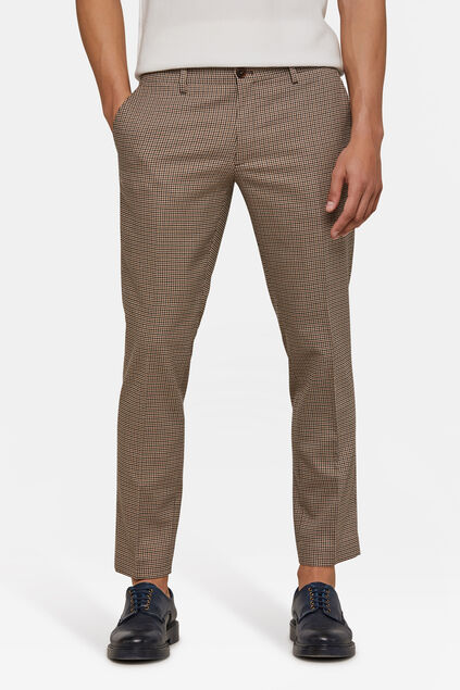 Heren slim fit geruite pantalon Beige