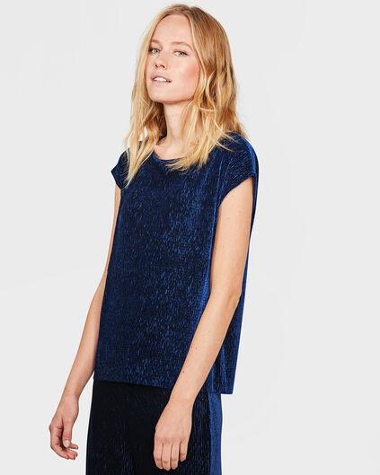 DAMES PLEATED VELVET TOP Marineblauw