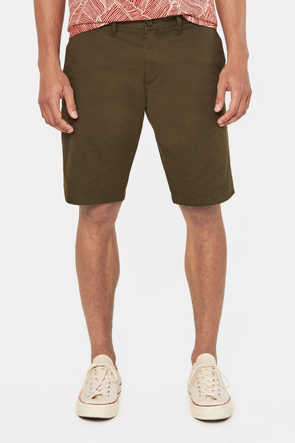 Heren tall fit chinoshort met stretch Legergroen