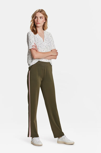 DAMES SPORTY STRIPE WIDE LEG PANTALON Olijfgroen