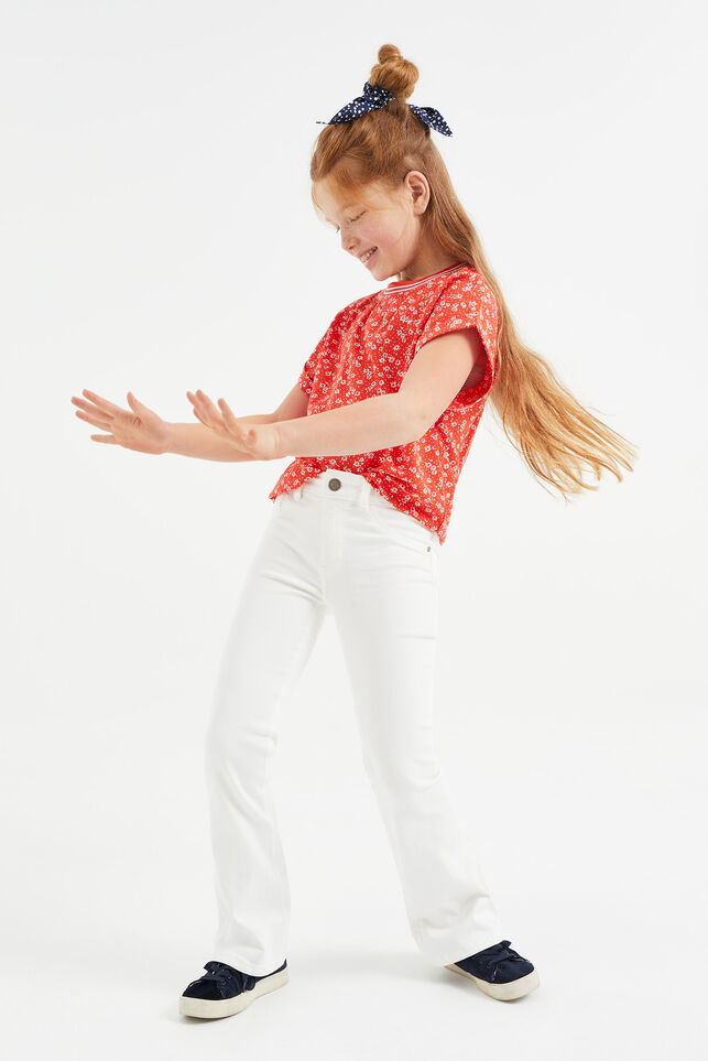 Jeans flared fille Blanc