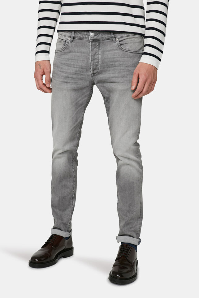 Heren slim tapered comfort stretch jeans Lichtgrijs