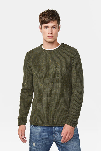Pull tricoté homme Vert armee