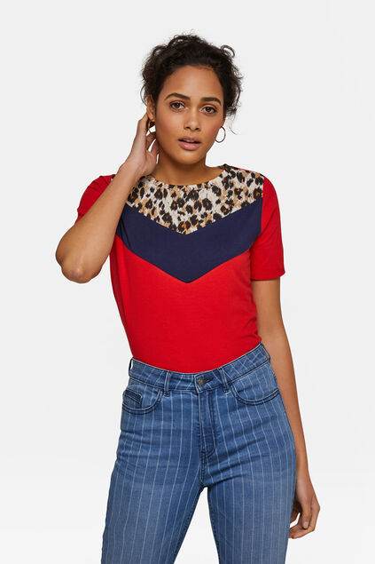 T-shirt colour block femme Rouge