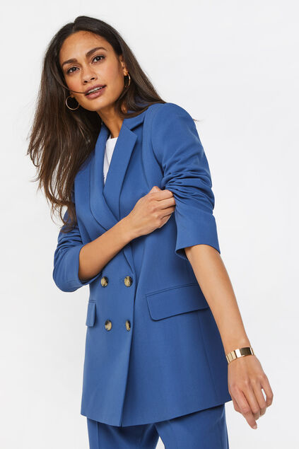 Dames regular fit double-breasted blazer Marineblauw