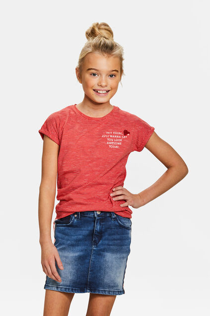 T-shirt rayé fille Rouge
