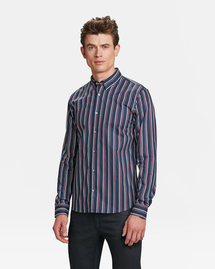HEREN SLIM FIT GESTREEPT OVERHEMD Marineblauw