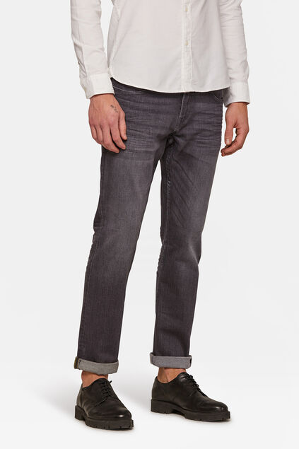 Heren regular straight jeans Grijs