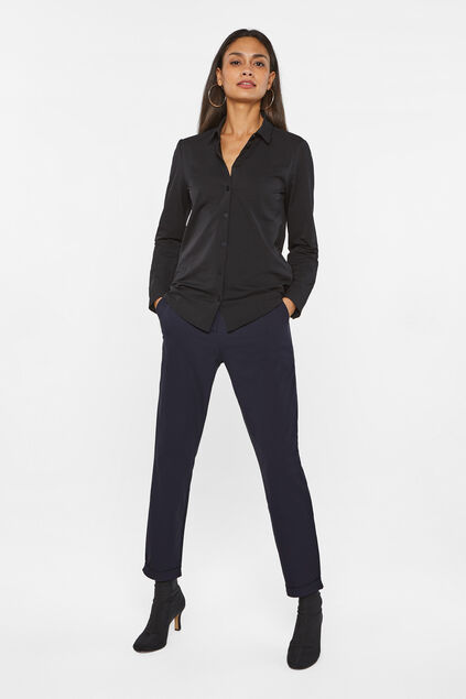 Dames mide rise tapered broek Donkerblauw