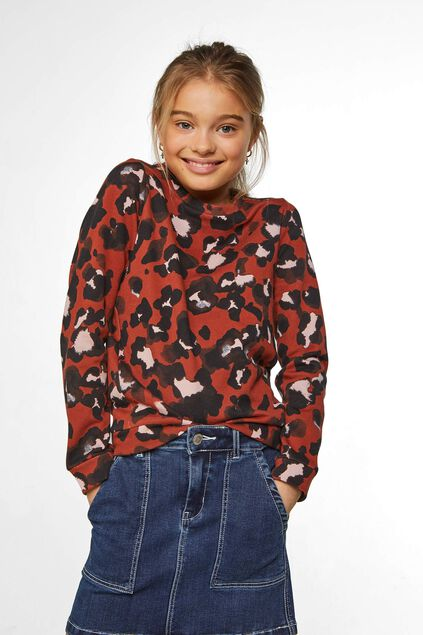 Meisjes sweater met panterdessin All-over print
