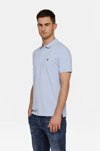 Heren organic cotton pique polo Lichtblauw