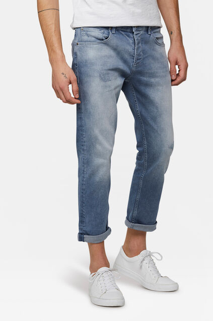 Jeans relaxed cropped tapered comfort stretch homme Bleu gris