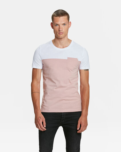 T-SHIRT COLOUR BLOCK HOMME Rose clair