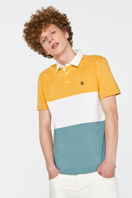 Heren Polo met colourblock Geel