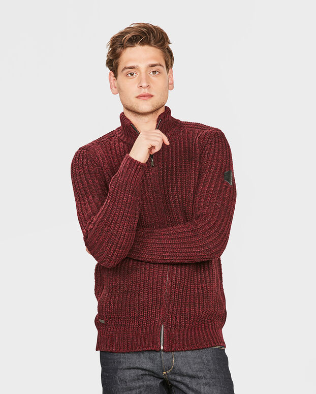 GILET RIB KNIT HOMME Rouge