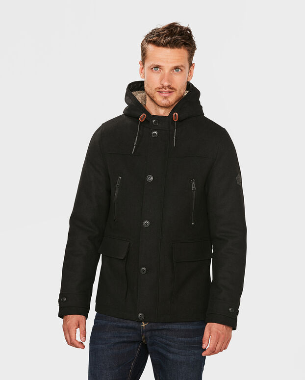 PARKA HOODED WOOL BLEND HOMME Noir