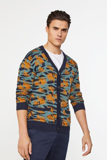 Heren fijngebreid vest met dessin All-over print