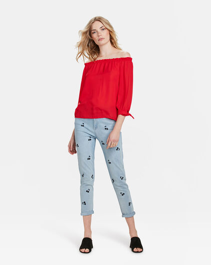 TOP OFF SHOULDER SMOCK FEMME Rouge vif