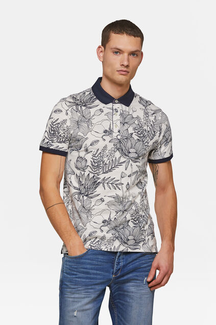 Heren bloemenprint polo Wit
