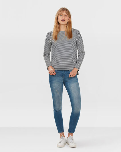DAMES MID RISE SKINNY HIGH STRETCH CROPPED JEANS Blauw
