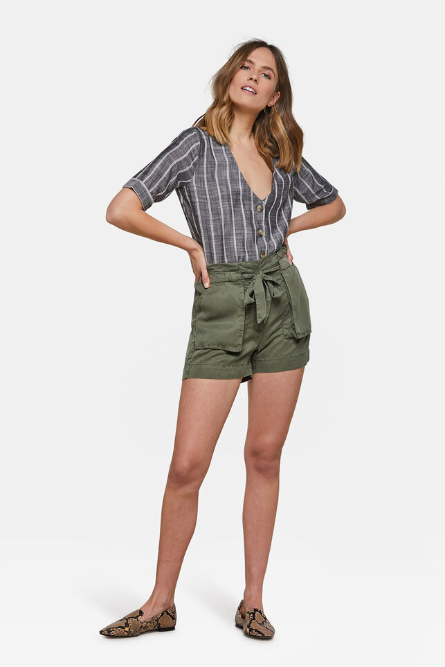 Dames high waist short Legergroen