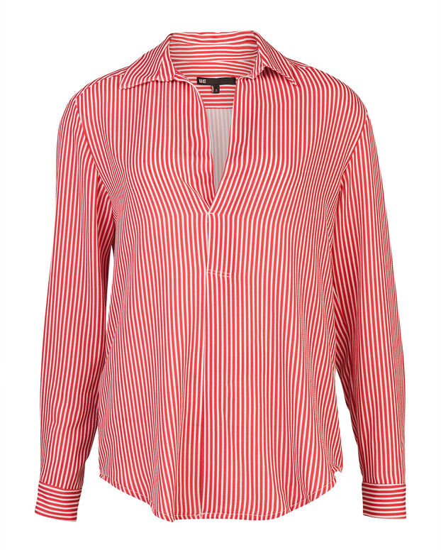 DAMES STRIPED BLOUSE Rood