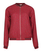 DAMES PRINT BOMBER JACKET_DAMES PRINT BOMBER JACKET, Bordeauxrood