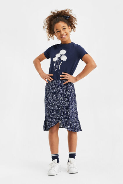 Meisjes rok met stippendessin en volants All-over print