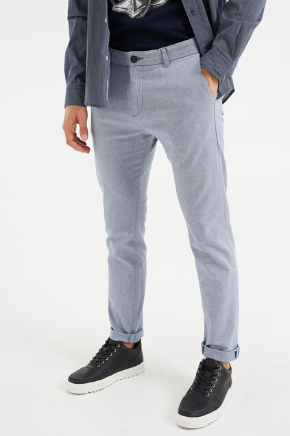 Heren skinny fit chambray chino Lichtblauw