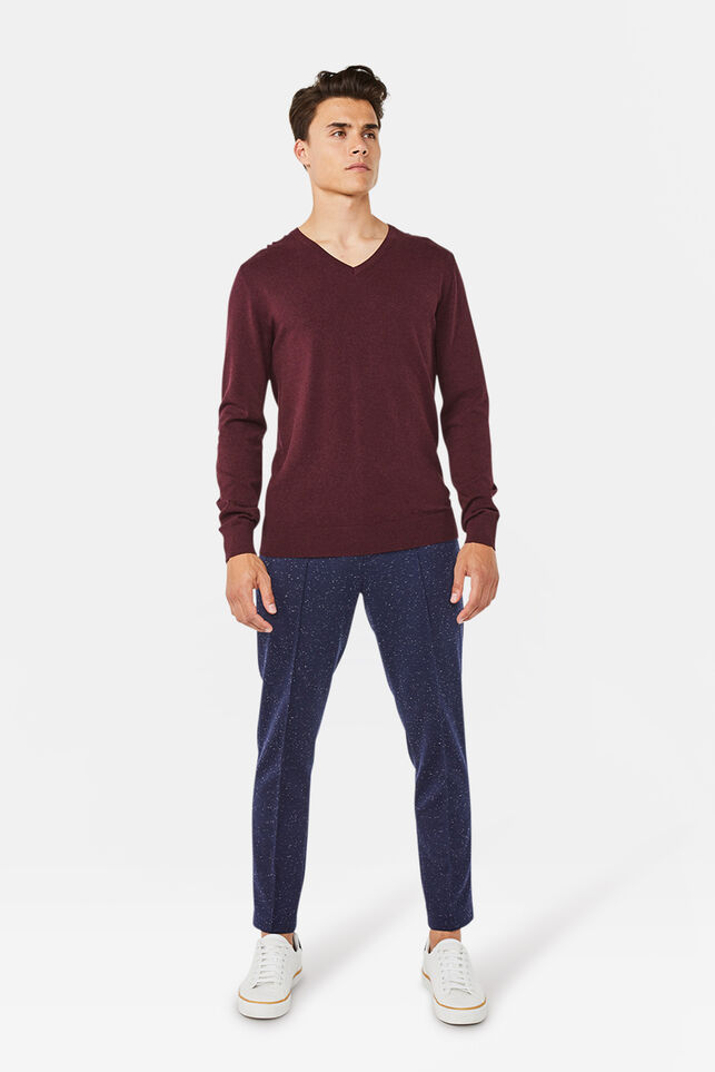Heren slim fit jersey stretch chino Marineblauw