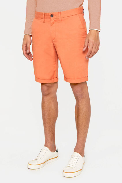 Heren slim fit chinoshort met stretch Oranje