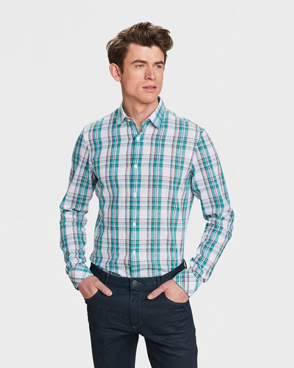 CHEMISE SLIM FIT CHECKED HOMME Vert menthe