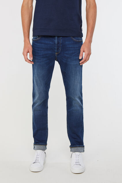 Heren slim fit jog denim jeans Donkerblauw