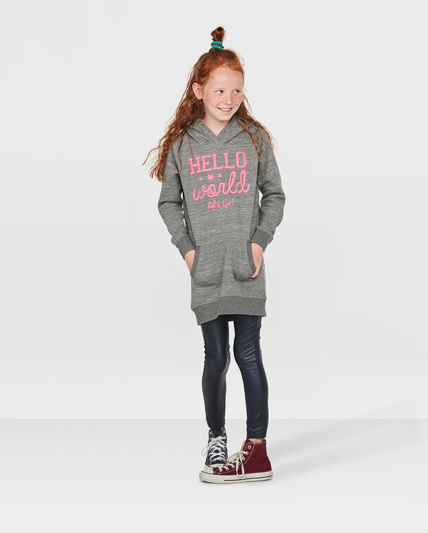 ROBE-SWEATER HOODED FILLE Gris