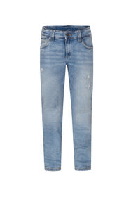 Jongens slim fit rip en repair jeans_Jongens slim fit rip en repair jeans, Blauw