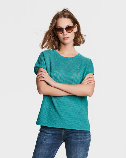 DAMES ZIGZAG RIB TOP Turquoise