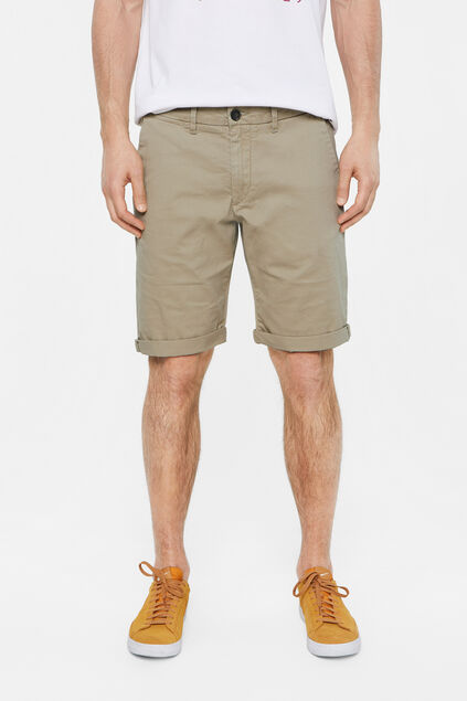 Heren slim fit chinoshort met stretch Beige