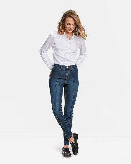 DAMES HIGH RISE SUPER SKINNY PINTUCK JEANS Donkerblauw