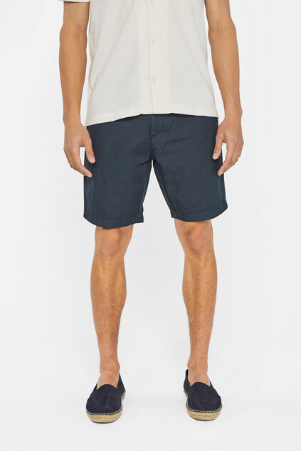 Short chino regular fit de mélange de lin homme Bleu marine